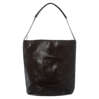 Stella McCartney Black Python-embossed Velvet Hobo Bag