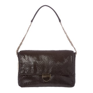Stella McCartney Black Python-embossed Velvet Shoulder Bag
