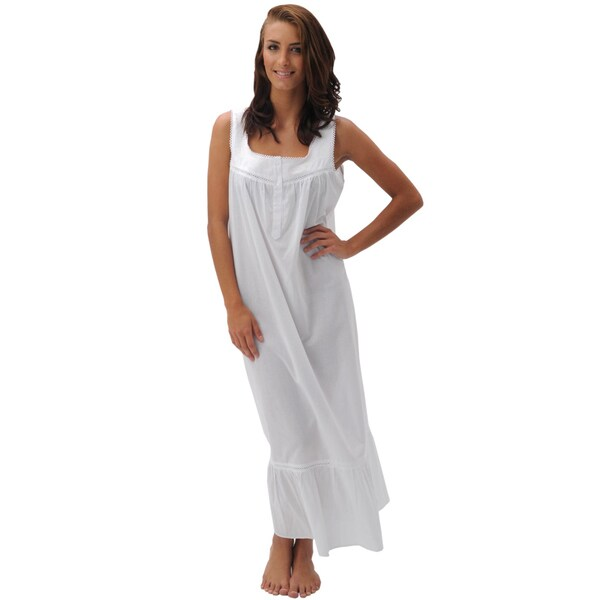 Del Rossa Women's Patricia White Cotton Nightgown