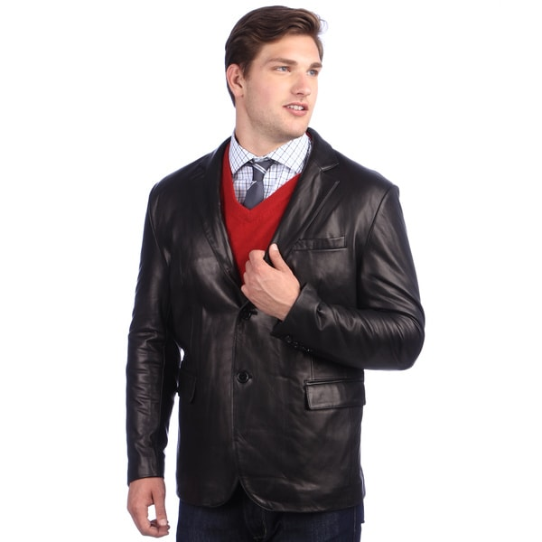 United Face Men's Black Two-button Leather Blazer
