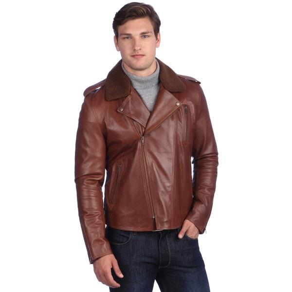 United Face Men's Brown Lamb Leather Biker Jacket