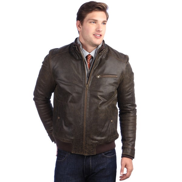 United Face Men's Brown Distressed Leather Stand Collar Bomber Jacket