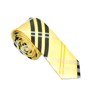 Skinny Tie Madness Mens Yellow Plaid Skinny Tie