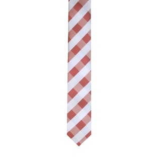Skinny Tie Madness Men's Burgundy Plaid Skinny Tie