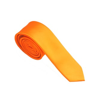 Skinny Tie Madness Men's Solid Orange Skinny Tie