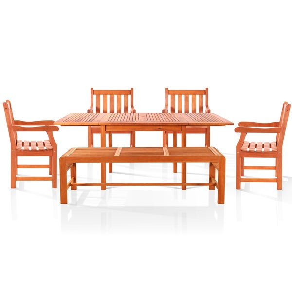 Bana Dining Set with Large Rectangular Table, 3-Seater Backless Bench and Armchairs
