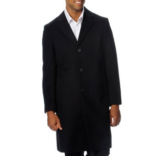 Nautica Men's Black Wool Blend 3-button Top Coat