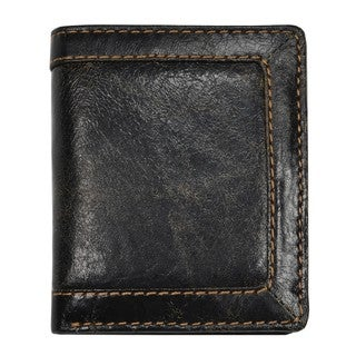 Men's Black Distressed Leather Bi-fold Wallet