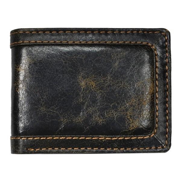 Men's Black Leather Distressed Bi-fold Wallet