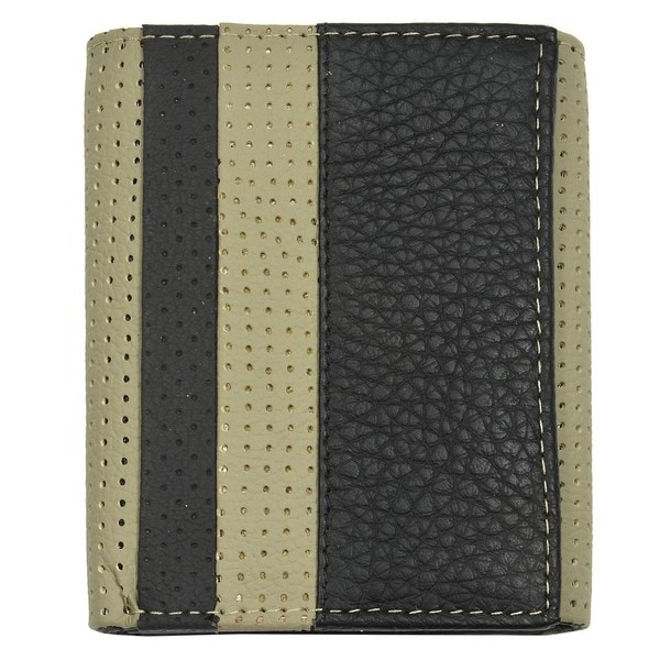 Men's Black/ Grey Leather Tri-fold Wallet