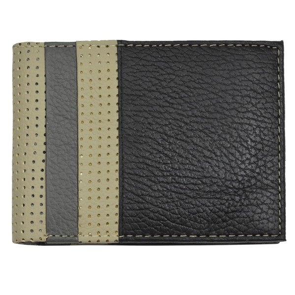Men's Black/Gray Leather Bi-Fold Wallet - 110 mm Long x 85 mm Wide x 20 mm Deep
