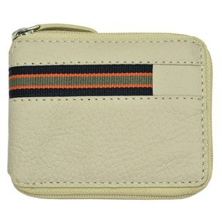Men's Beige Leather Zip-around Wallet