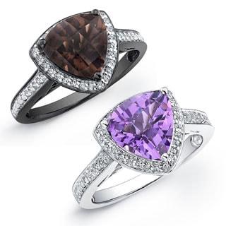 Sterling Silver Trillion-cut Gemstone and 1/4ct TDW Diamond Ring (J-K, I2-I3)