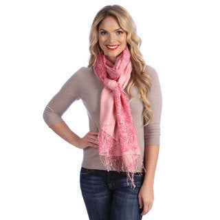 Women's Pink Paisley Print Cashmere and Silk Shawl