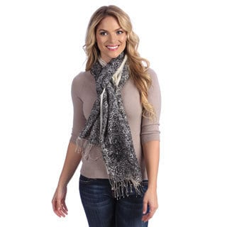 Women's Black/ White Paisley Print Cashmere and Silk Shawl