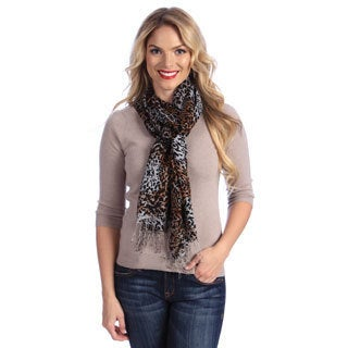 Women's Lightweight Dotted Leopard Print Cashmere and Silk Stole