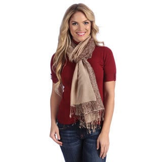 Women's Camel/ Brown Paisley Print Cashmere and Silk Shawl