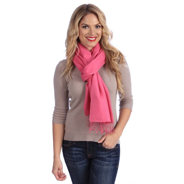 Women's Shocking Pink Jacquard Cashmere and Silk Stole