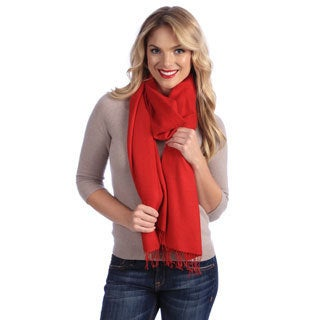 Women's Red Jacquard Cashmere and Silk Stole