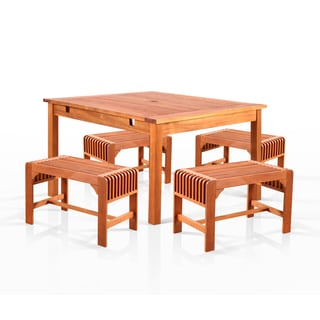 Benza Square Eucalyptus 5-piece Backless Dining Set
