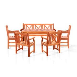 Benza Rectangular Eucalyptus 6-piece Dining Set