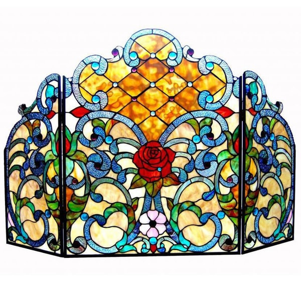 Chloe tiffany style victorian design 3 panel fireplace screen 15709751 - Amazing stained glass fireplace screen designs with intriguing patterns ...