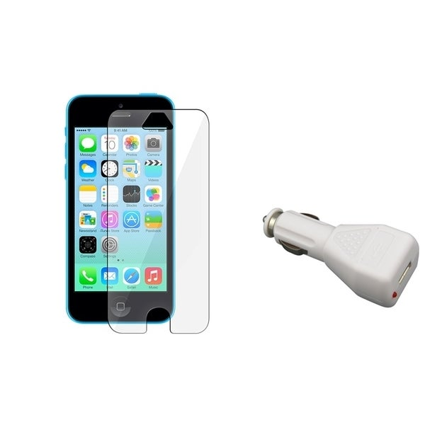 INSTEN Clear Screen Protector/ Car Charger Adapter for Apple iPhone 5C