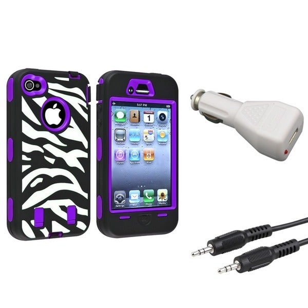 INSTEN Phone Case Cover/ Car Charger Adapter/ Audio Cable for Apple iPhone 4/ 4S