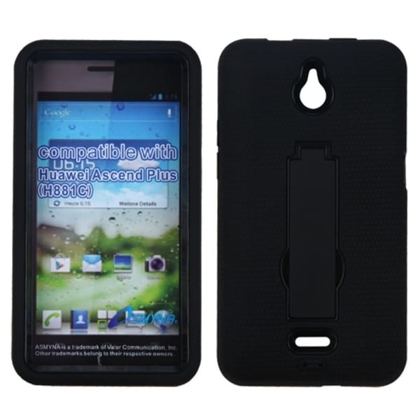 INSTEN Black/ Black Phone Case Cover with Stand for Huawei H881C Ascend Plus