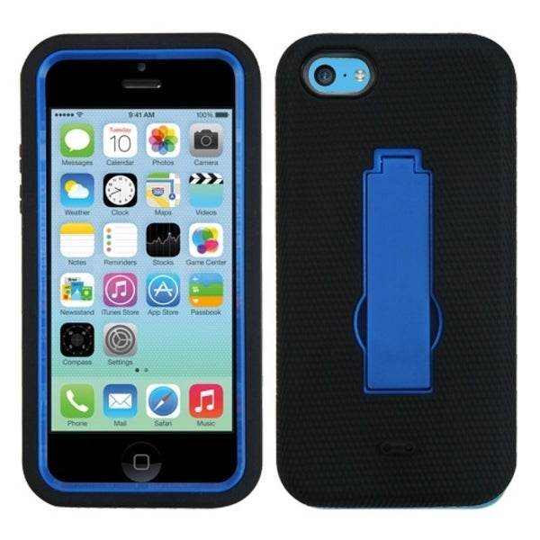 INSTEN Dark Blue/ Black Phone Case Cover with Stand for Apple iPhone 5C