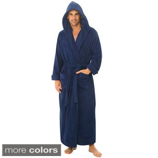 Del Rossa Men's Full Length Hooded Terry Cotton Bath Robe