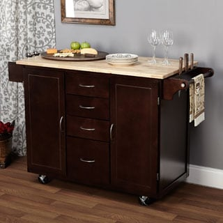 Simple Living Espresso/Natural Country Cottage Kitchen Cart