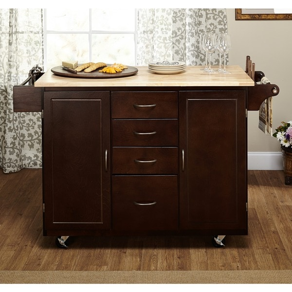 Details About Kitchen Island Cart Food Serving Table Cabinet Rolling