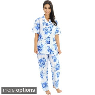 Del Rossa Women's Woven Cotton Top and Pants Pajama Set