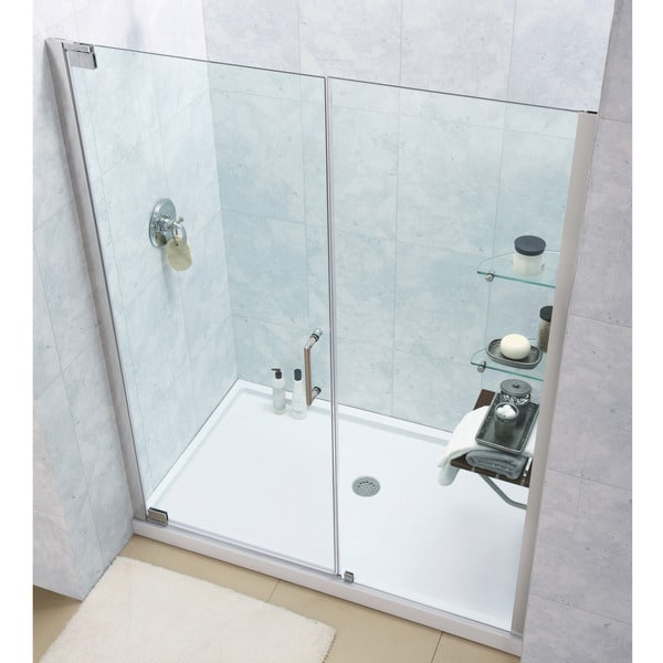 pivot shower door and slimline 32 x 60 inch single threshold shower