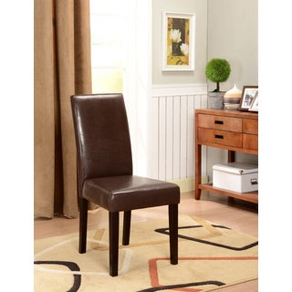 K&B Brown Leatherette Parson Chairs