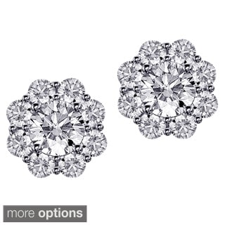 14k/18k Gold 1 7/8ct TDW Scalloped Diamond Halo Stud Earrings (F-G, SI1-SI2)
