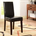 K&B Black Leatherette Parson Chairs (Set of 2)