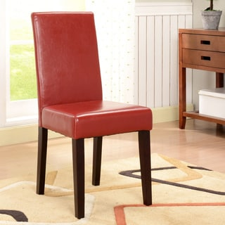 K&B Red Leatherette Parson Chairs (Set of 2)