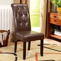 K&B Brown Leatherette Button Tufted Parson Chairs (Set of 2)