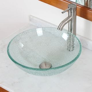 ELITE S25F371023BN Clear Cracking Glass Vessel Sink