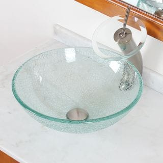 ELITE S25F22TBN Clear Cracking Glass Bathroom Vessel Sink and Waterfall Brushed Nickel Finish Faucet