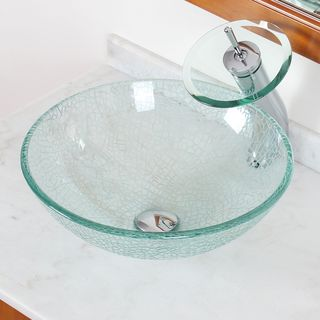 Elite S25F22TC Clear Cracking Glass Bathroom Vessel Waterfall Chrome Sink / Faucet Combo