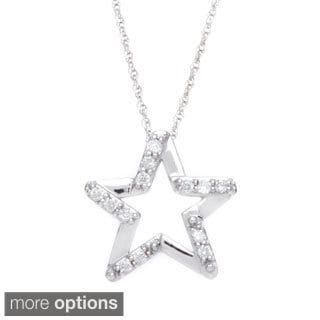 10k White or Yellow Gold 1/10ct TDW Diamond Star Necklace