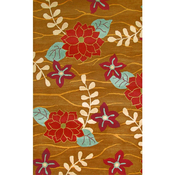 Avalon Dark Gold Wool Floral Area Rug (5' x 8')