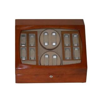 Tan Wood Multi Watch Winder and Storage Case