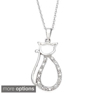 10k Gold 1/10ct TDW Diamond Cat Necklace