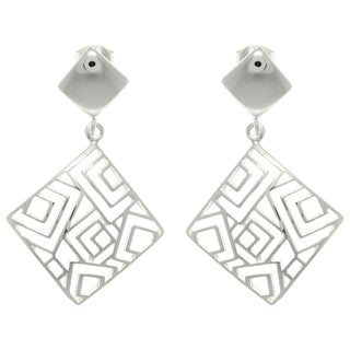 Carolina Glamour Collection Silver Aztec Diamond-shaped Earrings