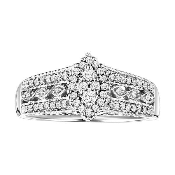 Cambridge Sterling Silver 1/3ct TDW Diamond Engagement Ring (I-J, I2-I3)