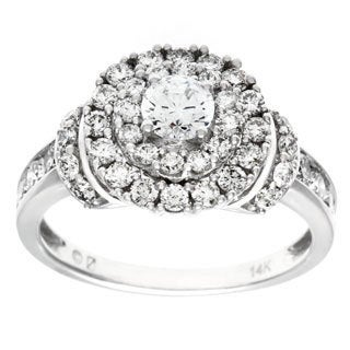 Cambridge 14k White Gold 1 1/2ct TDW Diamond Halo Engagement Ring (I-J, I2-I3)